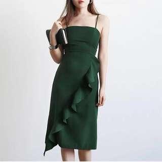 *CNY* Sofia Ruffle Midi Dress in FOREST GREEN (2 weeks wait time)