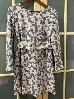 日系品牌31sons de mode粉紅灰點長袖洋裝38號