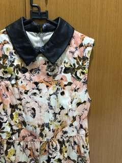 Dress flower bunga kulit kerah zara