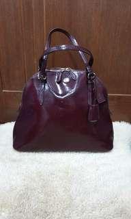 Coach Peyton Cora glazed saffiano leather domed satchel handbag in BURGUNDY