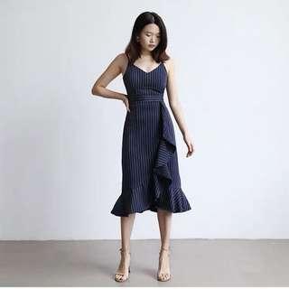 *CNY* Bailey Pinstripe-Ruffle Dress in NAVY (2 weeks wait)