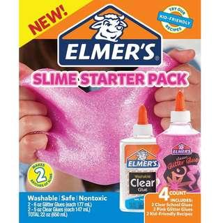 BNIB: Elmer's Slime Starter Kit, Clear School Glue and Pink Glitter Glue, 4 Count