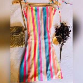Technicolor Bow Spaghetti Dress