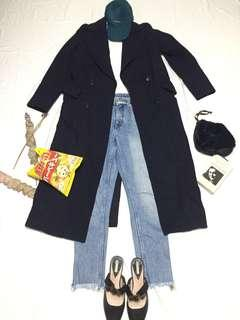 zara outfit with long outer coat