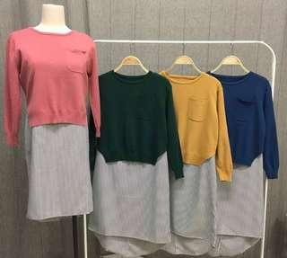 KNITTED STRIPES LONG TOP