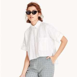 Avery High Low Cropped Shirt - White