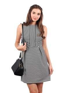TSW Walk The Line Stripe Sheath Dress In Black