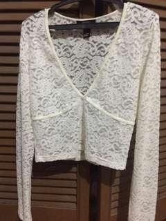 Forever 21 lace long sleeves semi crop
