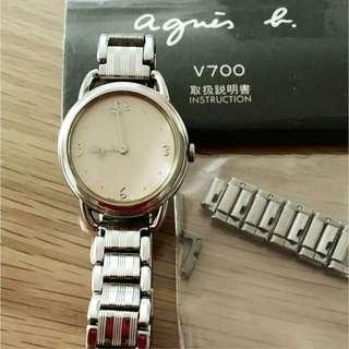Agnes b' watch working fine + box B                      (((NO BARGAIN, PLS!! 拜托!!))) 日本名牌手錶