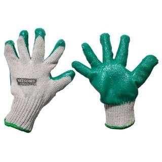 Meisons cotton gloves GREEN padding latex rubber padding