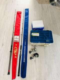 Fishing Zenith/ Earthshaker Rod & Avet Reel & Cooler box & Satchel etc