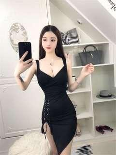 Black side tie up dress