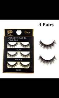 3 Pairs Black Handmade 3d Eyelashes Natural Cross False Eyelashes Upper Lashes Fake Eye Lashes Extension Make Up