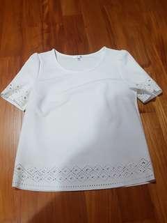 #idotrades valleygirl white eyelet laser cut shirt