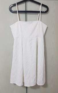 Stripey Spag Dress in White