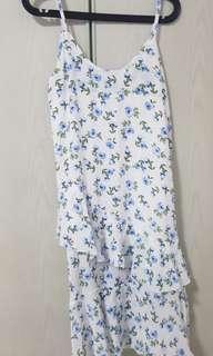Blue Floral Ruffles Dress