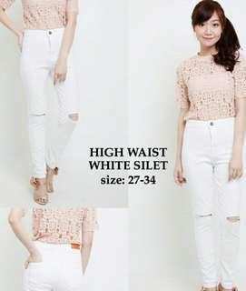 New - High Waist Jeans Ripped - White