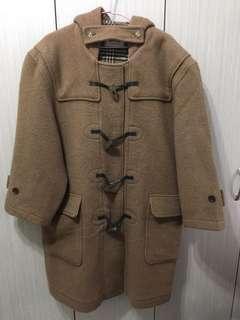 🚚 A.S-Studio日系百搭復古古著駝色羊毛牛角扣大衣長版外套反面絨格紋男版