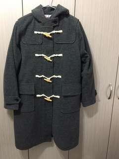 🚚 日系百搭復古古著深灰色羊毛牛角扣大衣長版外套女版