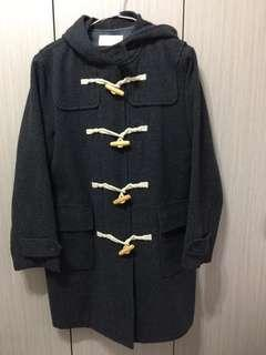 🚚 Kuninnin日系百搭復古古著深灰色羊毛牛角扣大衣長版外套女版