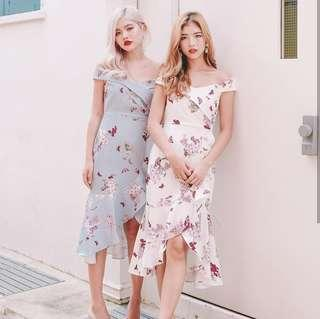 •PO• Celia Bardot Midi Off Shoulder flare dress