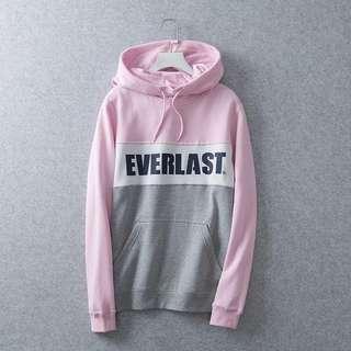 Everlast 拼色粉紅灰白衛衣