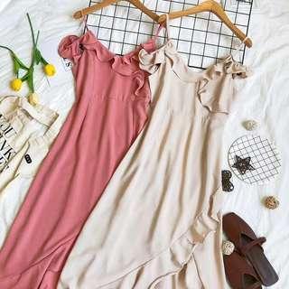 •PO• Wedding long chiffon midi dress