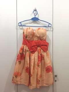 Mini Dress Orange Flower with Red Ribbon by Herman Arifin