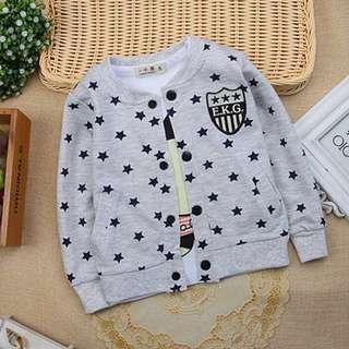 BNIB Baby Cotton Cardigan Stars Design in Grey 18-24 months