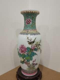 70-80年代初期 景德鎮 藝術瓷廠 粉彩 花鳥 花瓶 花樽 瓷器 vase (不含底座)