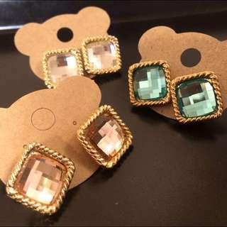 方型寶石簡約耳環
