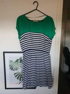 Green and blue & white stripey dress