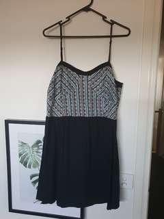 Black and Pattern top dress