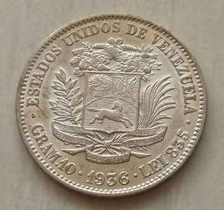 Venezuela 1936 2 Bolivares Silver Unc Coin With Luster
