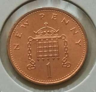 Britain 1971 New Penny Unc Coin With Mint Red