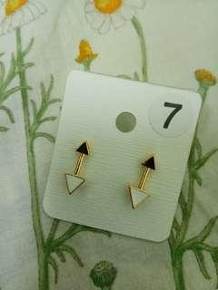 Gold White Arrow Earrings