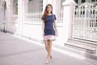 Sophie Colourblock Hem Dress in Navy
