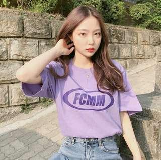 [wts/instock] ulzzang 'fcmm' purple tee