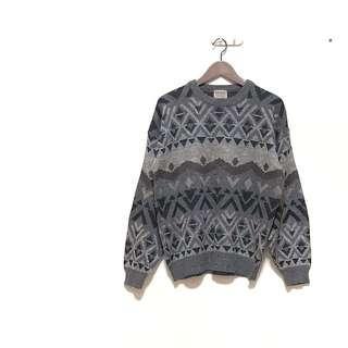 🚚 ✔️韓國復古灰紫色系幾何圖騰古着毛衣 日本帶回 只有一件