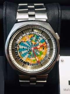Vintage EDOX Geoscope 42 world timer GMT automatic watch