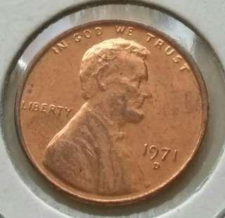 USA 1971D 1 Cent Unc Coin With Mint Red
