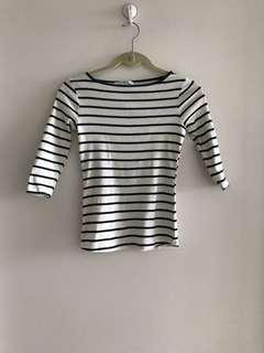 Zara Organic Cotton Striped Top 3/4 sleeve Size S