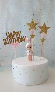 Happy Birthday Cake Topper with Baby Angel & Stars