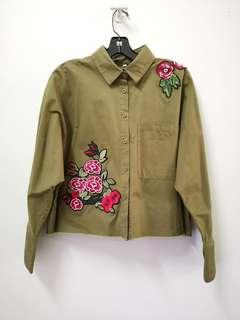 Cotton army green longsleeve top