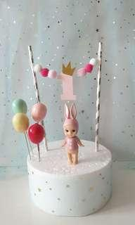 #1 Birthday Cake Banner with Angel & Balloons