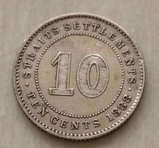 Straits Settlements 1888 10 Cents Silver Coin With Good Details