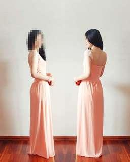 Emcee Couture sweetheart neckline peach maxi flare dress