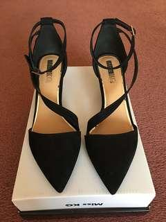 Miss KG Black Suede Mini Heels size 38