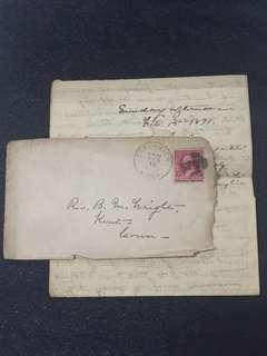 US 1891 Envelope + Letter w 1890 2c Carmine Washington