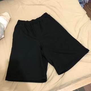 🚚 全新黑色短棉褲 鬆緊自由
